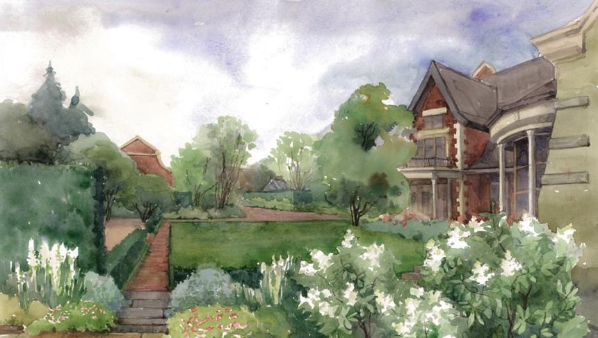 Ландшафтный дизайн, иллюстрация 2. Вид на сад из беседки