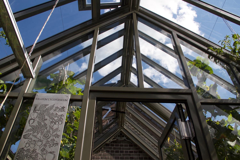 Автоматически открываемые для проветривания окна английской теплицы